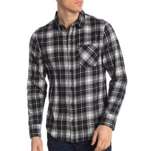 Public Opinion Men's Black & White Plaid Flannel